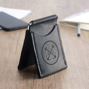 Black handmade leather wallet with money clip by Luniko