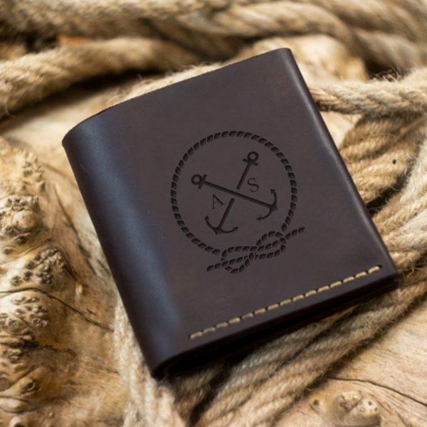Portfel męski skórzany ręcznie szyty, brązowy, skóra naturalna