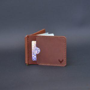 Portfel z klipsem na banknoty brązowy męski skórzany. Banknotówka męska нandmade w stylu vintage od Luniko