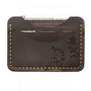 Brown handmade leather card holder by Luniko