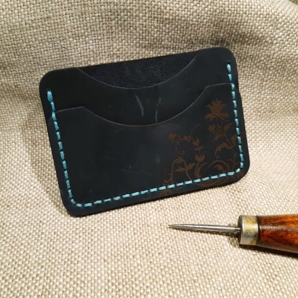 Dark blue handmade leather card holder by Luniko