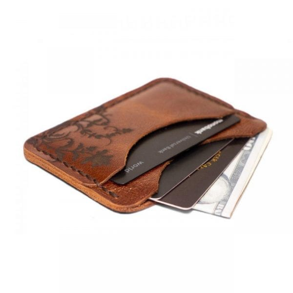 Light brown handmade leather card holder by Luniko