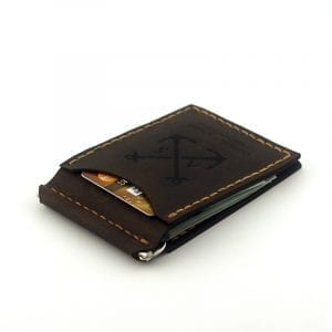 Brown handmade leather wallet with money clip by Luniko. Maritime Series