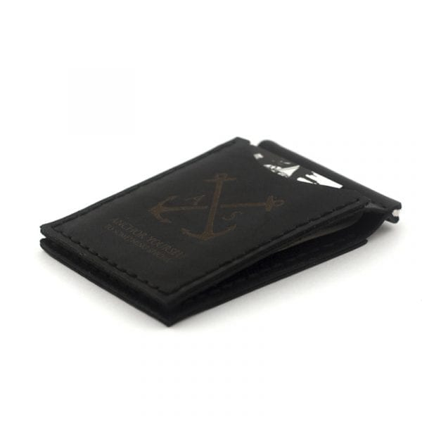 Black handmade leather wallet with money clip by Luniko. Maritime Series