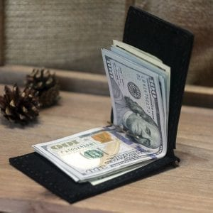 Black handmade leather wallet with money clip by Luniko Black wallet with money