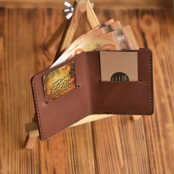 Cienki portfel męski skórzany brązowy ręcznie robiony od Luniko