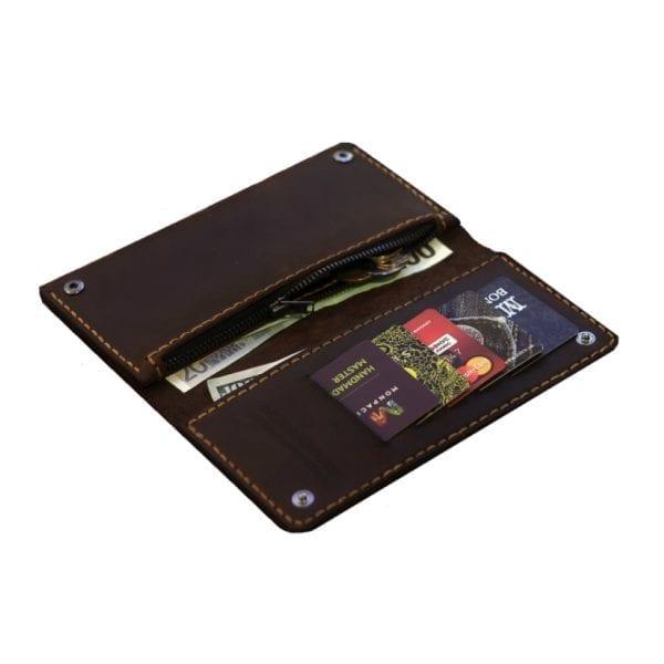 Brązowy skórzany portfel ręcznie robiony od Luniko