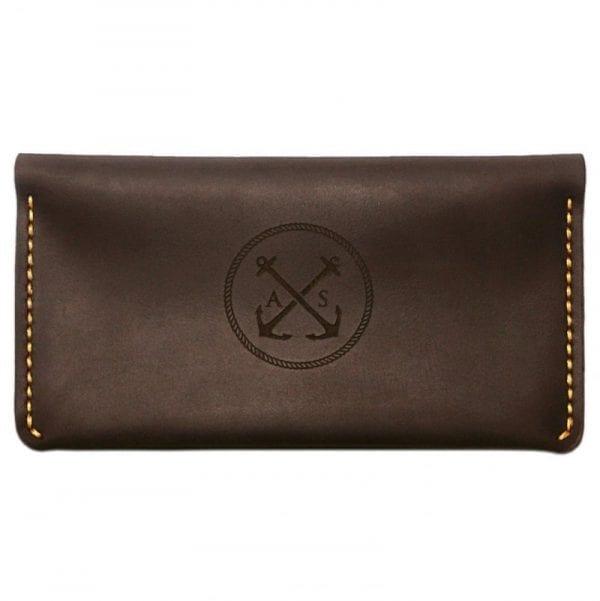 Brown leather handmade wallet by Luniko. Maritime Series