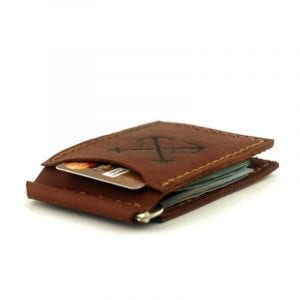 Light brown handmade leather wallet with clip for money by Luniko. Maritime Series