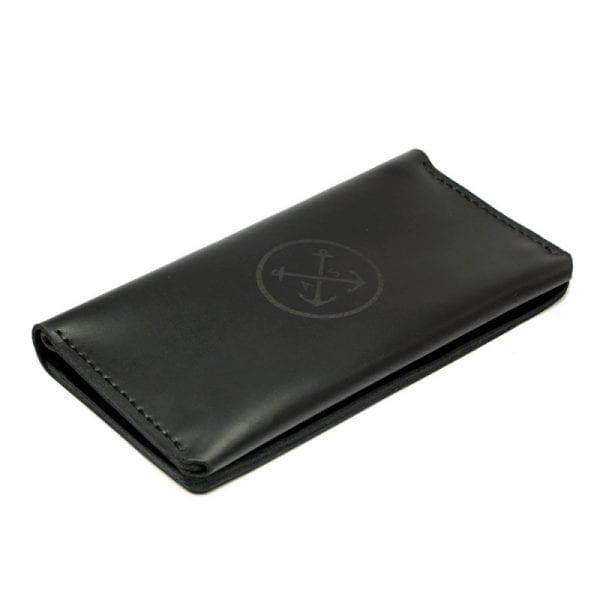 Black leather handmade wallet by Luniko. Maritime Series