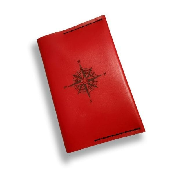 Red handmade leather passport holder by Luniko