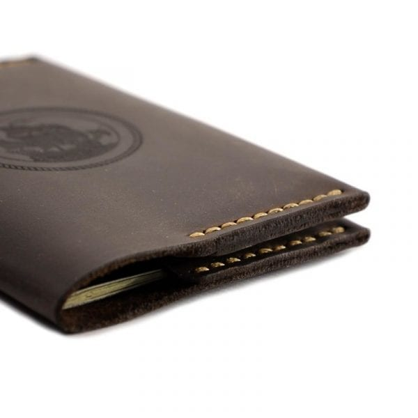 Brown handmade leather passport holder by Luniko. Maritime Series