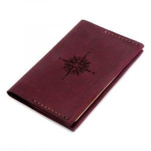 Burgundy handmade leather passport cover by Luniko. Maritime Series