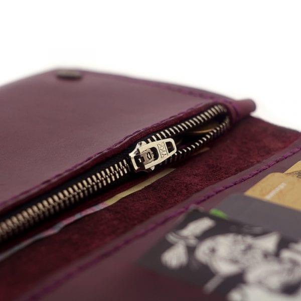 Burgundy leather handmade wallet by Luniko. Maritime Series