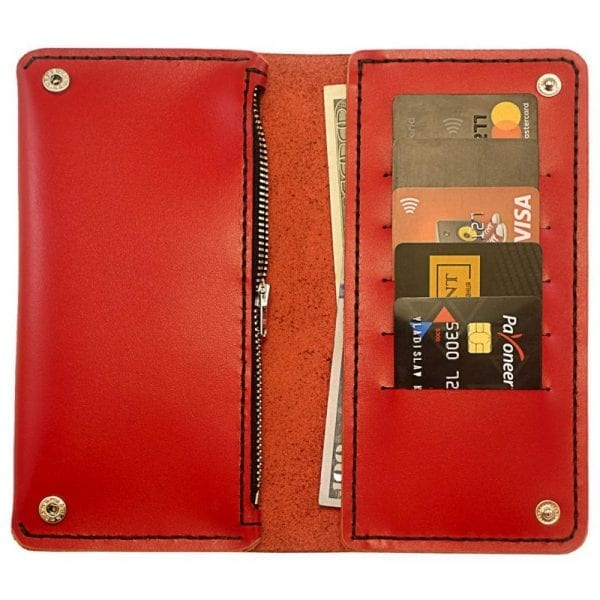 Red leather handmade women's wallet purse by Luniko. Maritime Series