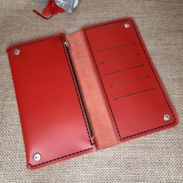 Red leather handmade women's wallet purse by Luniko