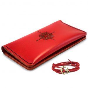 Czerwony skórzany damski portfel portmonetka ręcznie robiony z naturalnej skóry + Bransoletka GRATIS For women from Luniko!