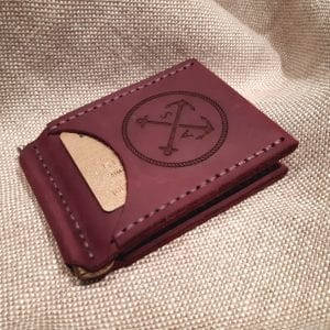 Burgundy handmade leather wallet with money clip by Luniko