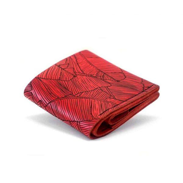 Ręcznie robiony czerwony damski skórzany portfel uszyty z naturalnej włoskiej skóry