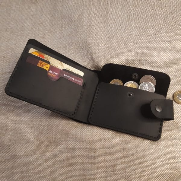 Universal black handmade leather wallet with a clasp and coin pocket by Luniko
