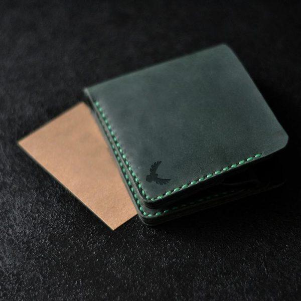 Portfel męski skórzany z kieszonką na monety ciemnozielony ręcznie robiony od Luniko