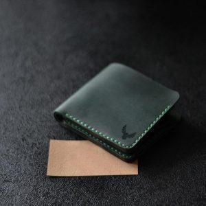 bilonówka skrzana Portfel męski skórz ręcznie szyty zielony dla niego na stylowy prezent