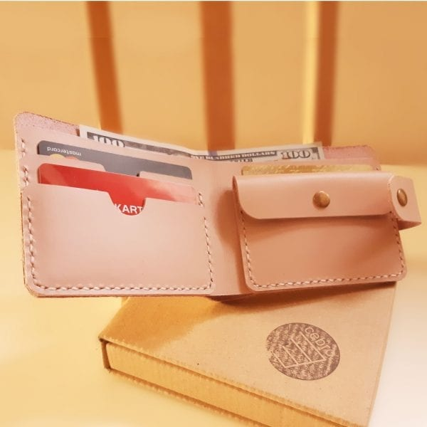 Universal handmade leather women's pink wallet with clasp and coin pocket by Luniko