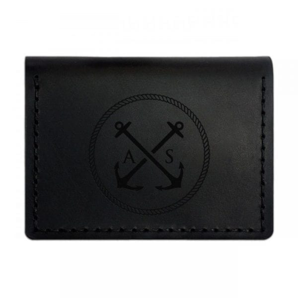 Black handmade leather wallet for documents by Luniko. Maritime Series
