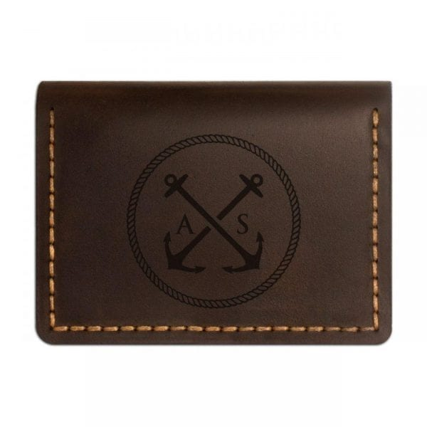 Brown handmade leather wallet for documents by Luniko. Maritime Series