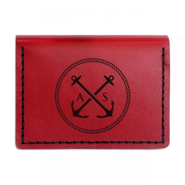 Red handmade leather wallet for documents by Luniko. Maritime Series