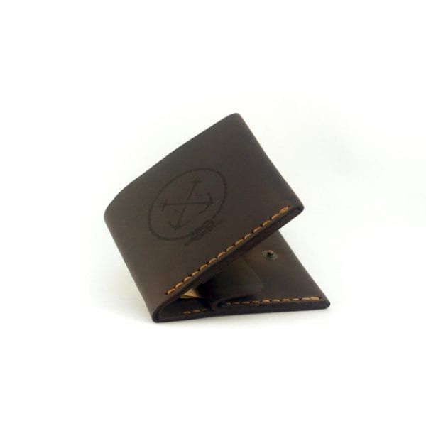 Brown handmade leather men's wallet with coin pocket by Luniko. Maritime Series