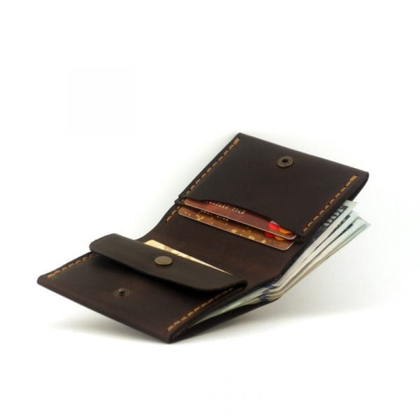 Wallet with compartment for coins, brown