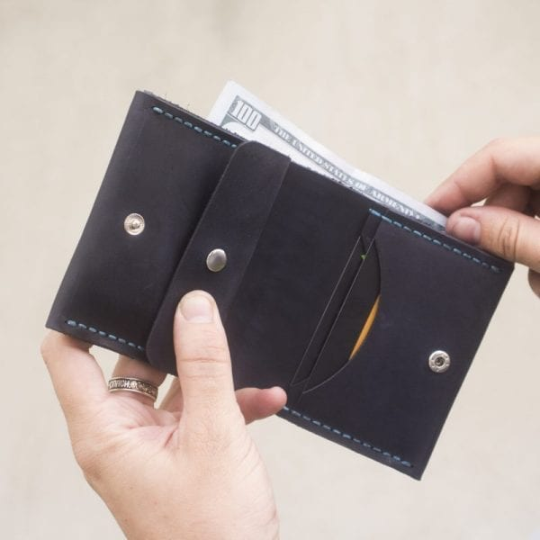 Dark blue handmade leather wallet with coin pocket by Luniko