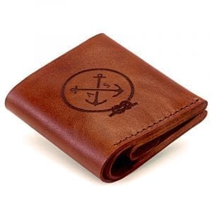 Light brown handmade leather wallet with coin pocket by Luniko. Maritime Series