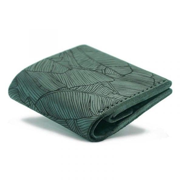 Dark green men's handmade leather wallet by Luniko. Maritime Series