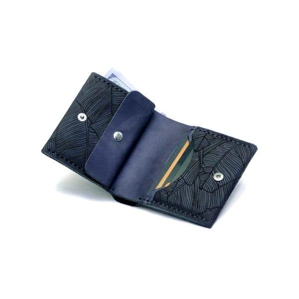 Dark blue men's handmade leather wallet by Luniko