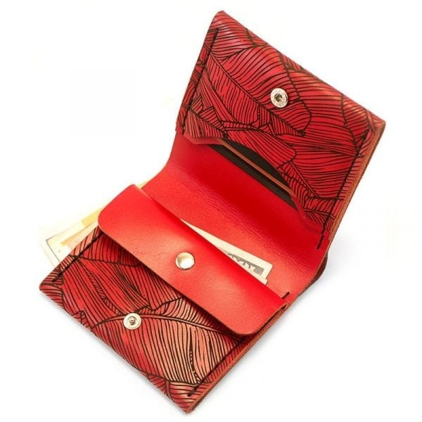 Red women's handmade leather wallet by Luniko. Maritime Series