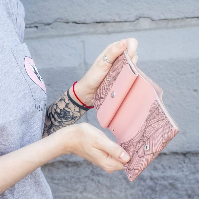 Pink women's handmade leather wallet by Luniko. Maritime Series