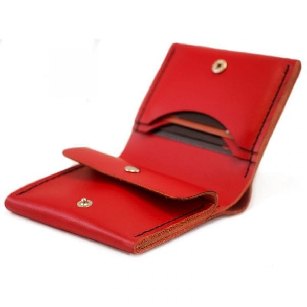 Women's wallet with compartment for coins, compass, red