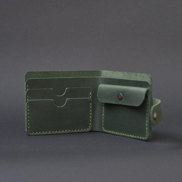 portfel męski skórzany ręcznie robiony zielony