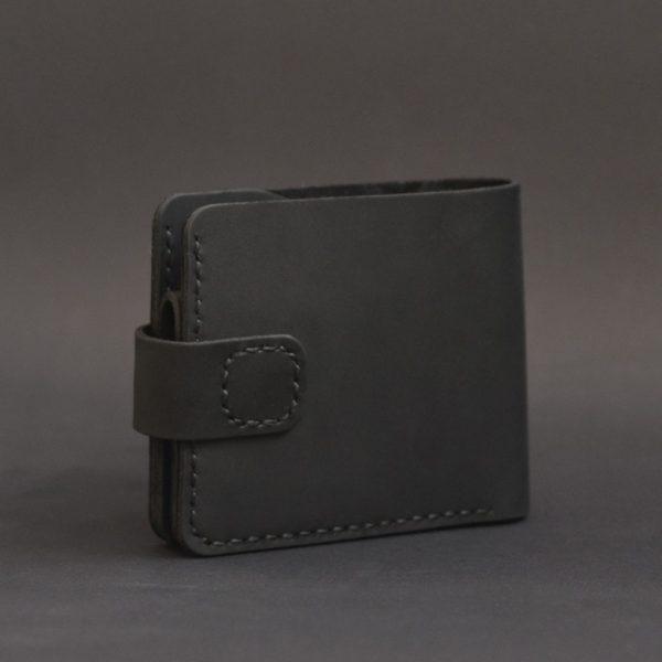 Portfel czarny męski skórzany z zapięciem ręcznie robiony rękodzieło