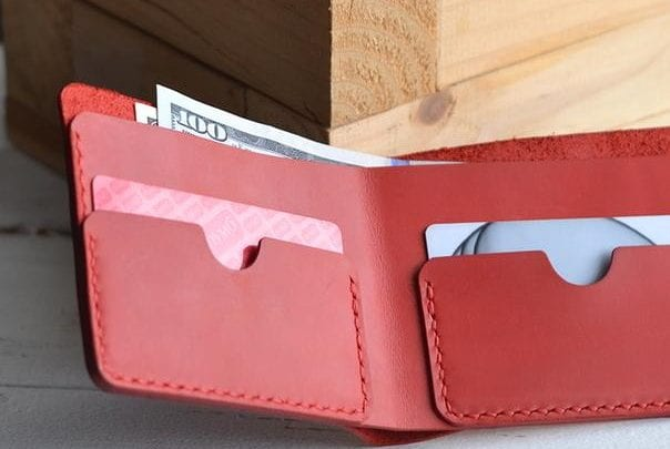 to buy Red wallet leather