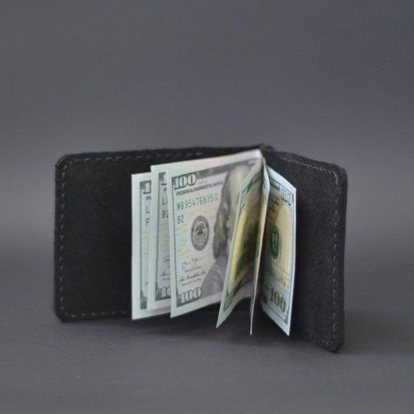 Portfel męski skórzany z klipsem na banknoty czarny handmade