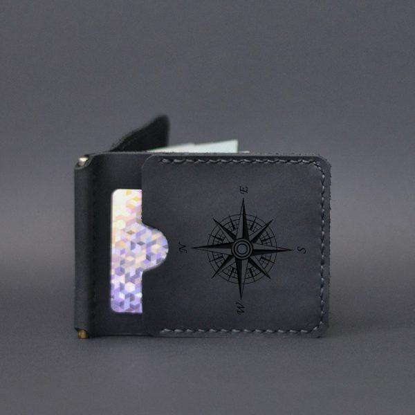 Portfel męski skórzany z klipsem na banknoty czarny