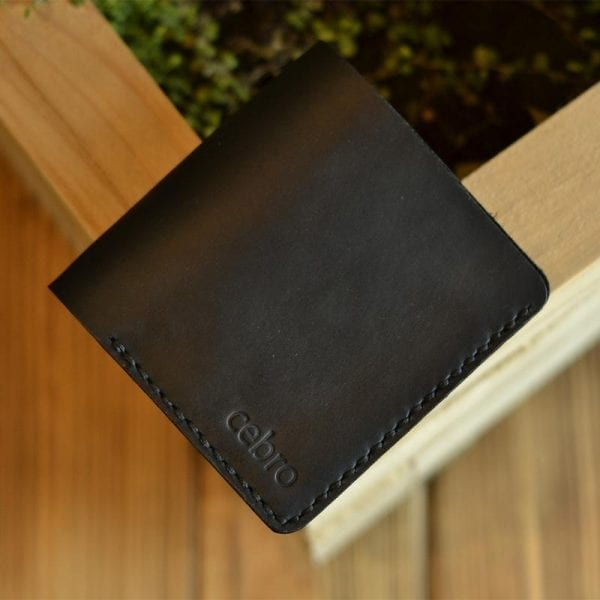 Compact black leather wallet