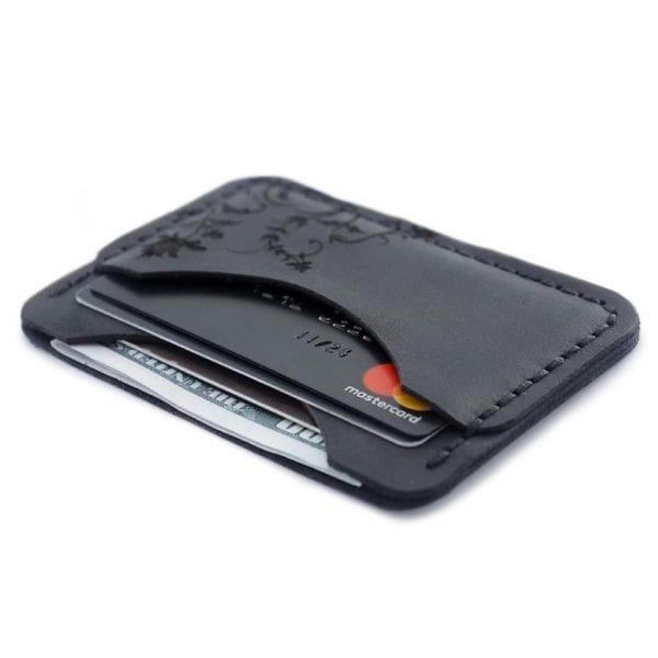 Czarny portfel na karty ręcznie robiony z prawdziwej włoskiej skóry od Luniko