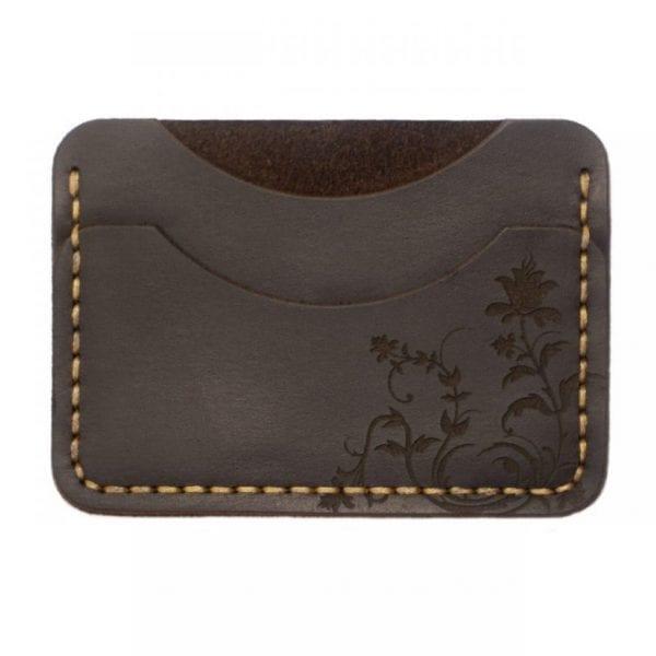 Brązowy mały portfel posiadacz karty z grawerem