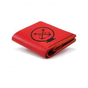 Czerwona bilonówka damska - portfel ręcznie szyty
