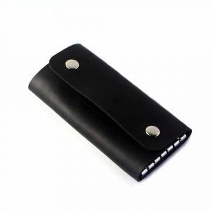 Skórzane etui na klucze (6 kluczy) - czarne ręcznie robione