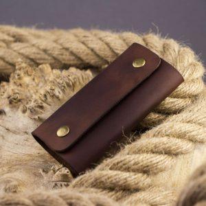 Pokrowiec na klucze - Key case leather (6 keys) - brown, handmade